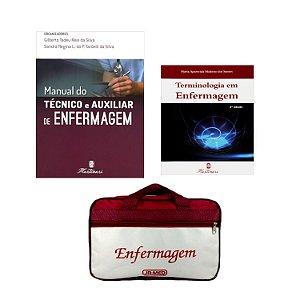 Kit Enfermagem: Manual do Técnico e Auxiliar de Enfermagem 2ª Edição + Terminologia em Enfermagem + Bolsa JRMED