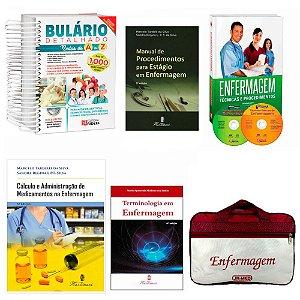 Kit Enfermagem: Bulário Detalhado+ Manual de Procedimento+ Enfermagem Técnicas e Procedimento+ Cálculo+ Terminologia