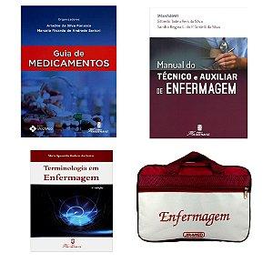 Kit Enfermagem: Guia de Medicamento+ Manual do Técnico e Auxiliar de Enfermagem 2ª Ed+ Terminologia em Enfermagem+ Bolsa