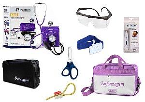 Kit Enfermagem: Aparelho De Pressão com Estetoscópio Duplo Incoterm  Completo - Lilás