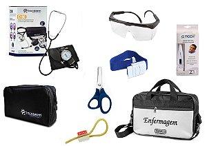 Kit Enfermagem: Aparelho De Pressão com Estetoscópio Duplo Incoterm  Completo - Preto