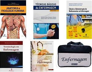 KIT ENFERMAGEM: ANATOMIA + TÉCNICAS BÁSICAS + CÁLCULO E ADMINISTRAÇÃO+ TERMINOLOGIA + DIÁRIO TÉCNICO+ BOLSA JRMED