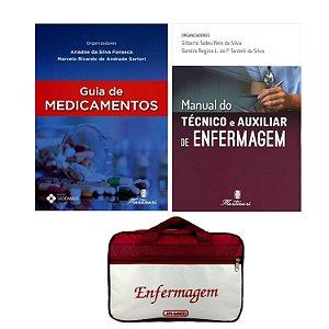 Kit Enfermagem: Guia de Medicamentos + Manual do Técnico e Auxiliar de Enfermagem + Bolsa JRMED