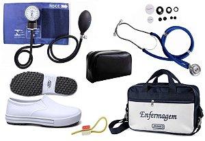 Kit Enfermagem: Aparelho de Pressão com Estetoscópio Rappaport Azul Premium + Sapato Branco + Garrote JRMED + Bolsa