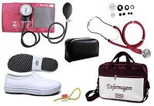 Kit Enfermagem: Aparelho de Pressão com Estetoscópio Rappaport Vinho Premium + Sapato Branco + Garrote JRMED + Bolsa