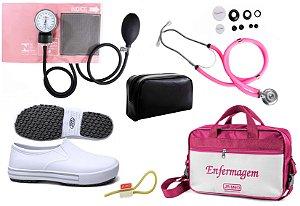 Kit Enfermagem: Aparelho de Pressão com Estetoscópio Rappaport Rosa Premium + Sapato Branco + Garrote JRMED + Bolsa