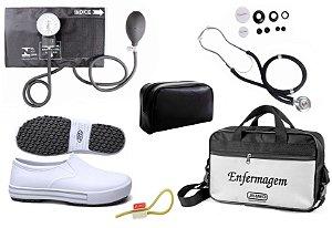 Kit Enfermagem: Aparelho de Pressão com Estetoscópio Rappaport Preto Premium + Sapato Branco + Garrote JRMED + Bolsa