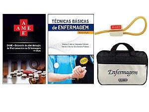 Kit Enfermagem: Ame Dicionário de Administração de Medicamentos 11ª Ed+ Técnicas Básicas de Enfermagem + Bolsa JRMED