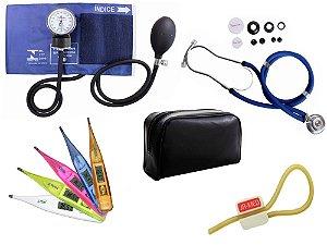Kit Aparelho de Pressão com Estetoscópio Rappaport Premium Azul + Termômetro Digital + Garrote Exclusivo JRMED