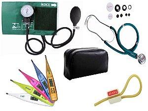 Kit Aparelho de Pressão com Estetoscópio Rappaport Premium Verde + Termômetro Digital + Garrote Exclusivo JRMED