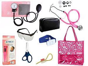 Novo Kit Enfermagem: Aparelho De Pressão com Estetoscópio Rappaport Premium Completo - Rosa