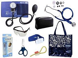 Novo Kit Enfermagem: Aparelho De Pressão com Estetoscópio Rappaport Premium Completo – Azul