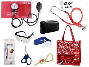 Novo Kit Enfermagem:  Aparelho De Pressão com Estetoscópio Rappaport Premium Completo – Vermelho
