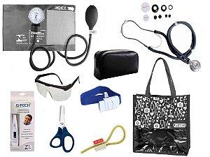 Novo Kit Enfermagem: Aparelho De Pressão com Estetoscópio Rappaport Premium Completo – Grafite