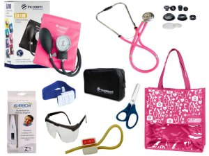 Novo Kit Enfermagem: Aparelho De Pressão com Estetoscópio Rappaport Incoterm Completo - Pink