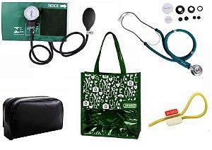 Novo Kit Enfermagem: Aparelho de Pressão com Estetoscópio Rappaport Premium Verde + Bolsa JRMED