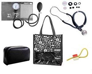 Novo Kit Enfermagem: Aparelho de Pressão com Estetoscópio Rappaport Premium Grafite + Bolsa JRMED