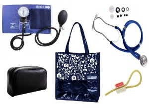 Novo Kit Enfermagem: Aparelho de Pressão com Estetoscópio Rappaport Premium Azul + Bolsa JRMED