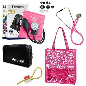 Novo Kit Enfermagem: Aparelho de Pressão com Estetoscópio Rappaport Incoterm Pink + Bolsa JRMED