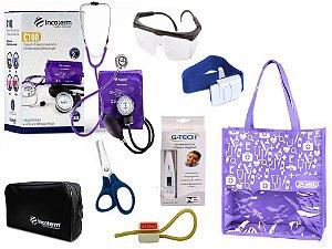 Novo Kit Enfermagem: Aparelho De Pressão com Estetoscópio Duplo Incoterm Completo - Lilás
