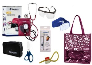 Novo Kit Enfermagem: Aparelho De Pressão com Estetoscópio Duplo Incoterm Completo - Vinho