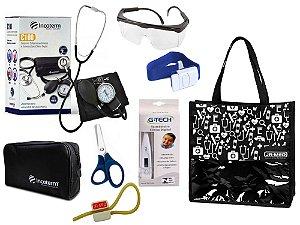 Novo Kit Enfermagem: Aparelho De Pressão com Estetoscópio Duplo Incoterm Completo - Preto