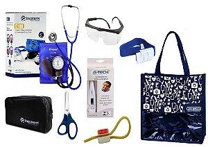 Novo Kit Enfermagem: Aparelho De Pressão com Estetoscópio Duplo Incoterm Completo - Azul