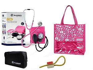 Novo Kit Enfermagem:  Aparelho de Pressão com Estetoscópio Clinico Duplo Pink Incoterm + Bolsa JRMED
