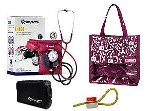 Novo Kit Enfermagem: Aparelho de Pressão com Estetoscópio Clinico Duplo Vinho Incoterm + Bolsa JRMED