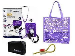 Novo Kit Enfermagem: Aparelho de Pressão com Estetoscópio Clinico Duplo Lilás Incoterm + Bolsa JRMED