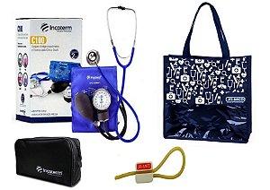 Novo Kit Enfermagem: Aparelho de Pressão com Estetoscópio Clinico Duplo Azul Incoterm + Bolsa JRMED