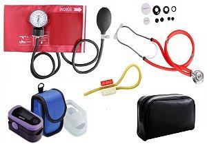 Kit Enfermagem: Aparelho de Pressão com Estetoscópio Rappaport Vermelho Premium + Oxímetro de pulso - G-Tech - Oled Graph