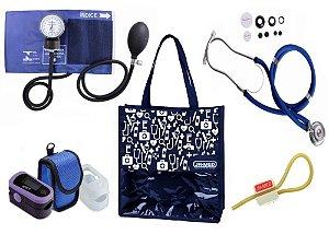 Novo Kit Enfermagem: Aparelho de Pressão com Estetoscópio Rappaport Azul Premium + Oxímetro - G-Tech + Bolsa JRMED