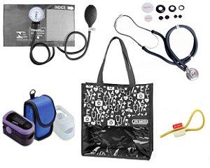 Novo Kit Enfermagem: Aparelho de Pressão com Estetoscópio Rappaport Grafite Premium + Oxímetro - G-Tech + Bolsa JRMED