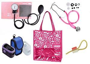 Novo Kit Enfermagem: Aparelho de Pressão com Estetoscópio Rappaport Rosa Premium + Oxímetro - G-Tech + Bolsa JRMED