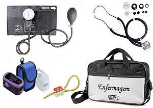 Kit Enfermagem: Aparelho de Pressão com Estetoscópio Rappaport Preto Premium + Oxímetro - G-Tech + Bolsa JRMED
