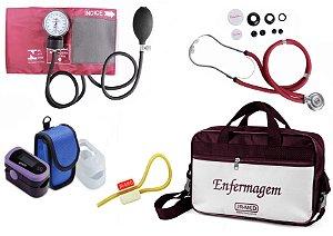 Kit Enfermagem: Aparelho de Pressão com Estetoscópio Rappaport Vinho Premium + Oxímetro - G-Tech + Bolsa JRMED