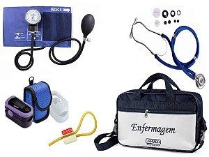 Kit Enfermagem: Aparelho de Pressão com Estetoscópio Rappaport Azul Premium + Oxímetro - G-Tech + Bolsa JRMED