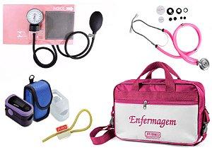 Kit Enfermagem: Aparelho de Pressão com Estetoscópio Rappaport Rosa Premium + Oxímetro - G-Tech + Bolsa JRMED
