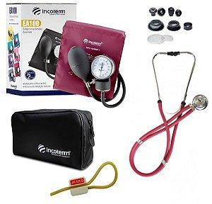 Kit Enfermagem:  Aparelho de Pressão com Estetoscópio Rappaport Incoterm - Vinho + Garrote JRMED