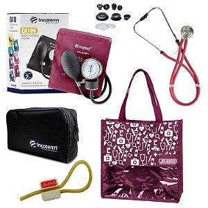 Novo Kit Enfermagem: Aparelho de Pressão com Estetoscópio Rappaport Incoterm Vinho + Bolsa JRMED