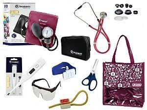 Novo Kit Enfermagem: Aparelho De Pressão com Estetoscópio Rappaport Incoterm Completo - Vinho