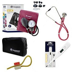 Kit Enfermagem: Aparelho De Pressão com Estetoscópio Rappaport Vinho Incoterm + Termômetro Digital + Garrote Exclusivo JRMED