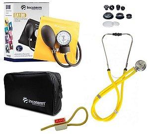 Kit Enfermagem: Aparelho De Pressão com Estetoscópio Rappaport Incoterm Amarelo  + Garrote JRMED