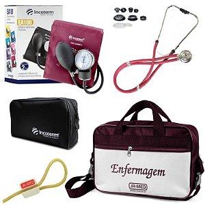 Kit Enfermagem: Aparelho De Pressão com Estetoscópio Rappaport Incoterm Vinho + Bolsa JRMED