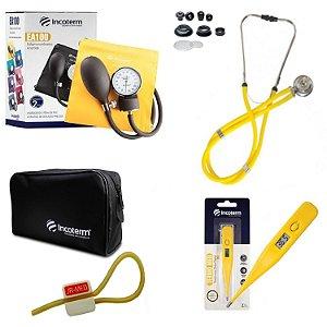 Kit Aparelho De Pressão com Estetoscópio Rappaport Amarelo Incoterm + Termômetro Digital + Garrote Exclusivo JRMED