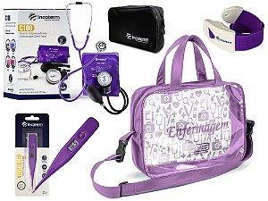 Kit Enfermagem Aparelho De Pressão com Estetoscópio Clinico Duplo Incoterm Lilás Completo + Bolsa Transparente JRMED