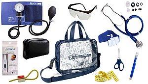 Kit Enfermagem Aparelho De Pressão com Estetoscópio Rappaport Premium Completo - Azul + Bolsa Transparente JRMED
