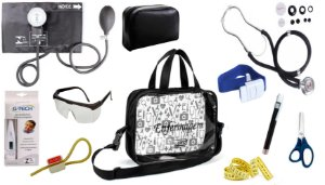 Kit Enfermagem Aparelho De Pressão com Estetoscópio Rappaport Premium Completo - Preta + Bolsa Transparente JRMED