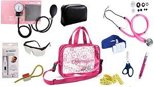 Kit Enfermagem Aparelho De Pressão com Estetoscópio Rappaport Premium Completo - Rosa + Bolsa Transparente JRMED